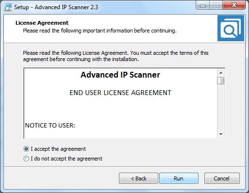 Đồng ý với các điều khoản sử dụng Advanced IP Scanner