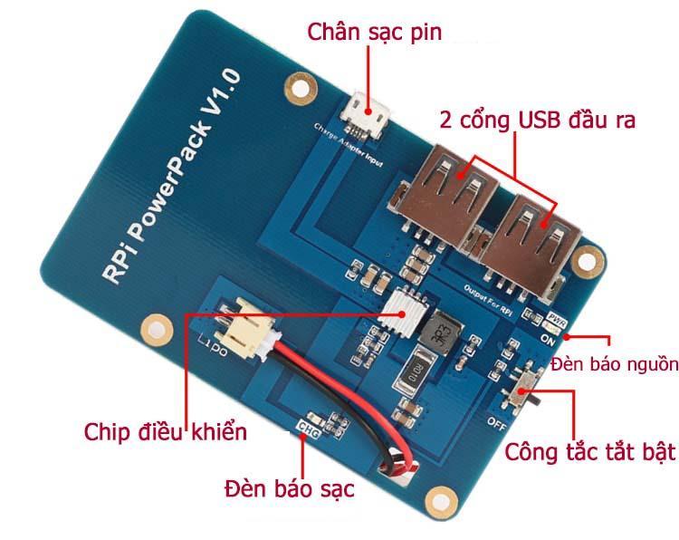 Mặt sau pin di động cho Raspberry Pi