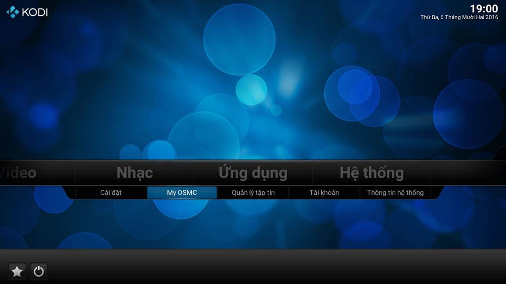 Truy cập menu My OSMC