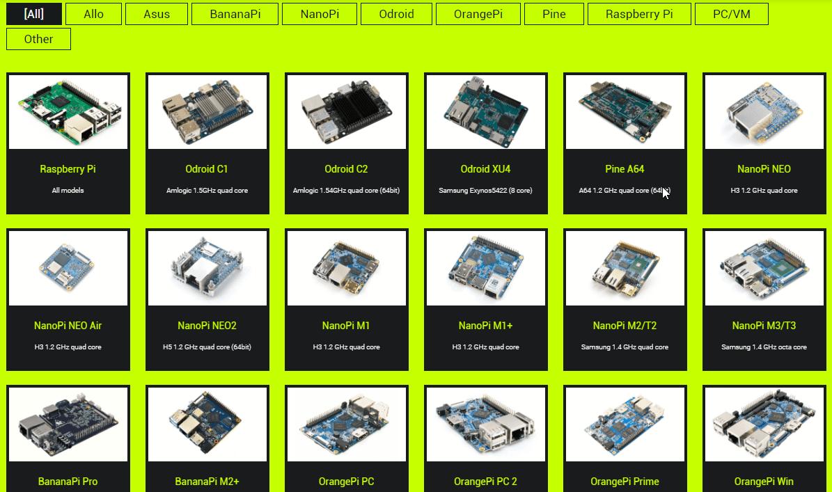 DietPi hỗ trợ rất nhiều các thiết bị phần cứng khác nhau